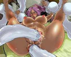 1girl ahegao anal anus barefoot bleach breasts censored dark_skin double_penetration fangs forced large_breasts lying monster nude ooshima_rushimaru orgasm purple_hair pussy sex shihouin_yoruichi shiny_skin spread_legs sweat tongue tongue_out vaginal