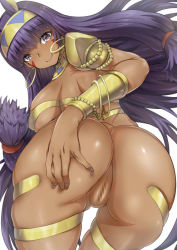 1girl anus arino_towatari ass blush bracelet breasts censored dark_skin egyptian egyptian_clothes facial_mark fate/grand_order fate_(series) jewelry large_breasts long_hair looking_at_viewer looking_back nitocris_(fate/grand_order) purple_eyes purple_hair pussy sideboob simple_background smile solo very_long_hair white_background