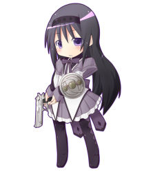 1girl akemi_homura black_bow black_hair blush bow chibi gun handgun headband holding holding_gun holding_weapon long_hair mahou_shoujo_madoka_magica miiyon open_mouth pantyhose pistol purple_eyes shield solo weapon