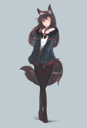 1girl absurdres animal_ears bare_shoulders black_legwear blouse boots brown_hair casual cross-laced_footwear ehrrr fur_trim high_heel_boots high_heels highres imaizumi_kagerou knee_boots kneeboots lace-up_boots long_hair miniskirt off_shoulder one_eye_closed open_mouth pantyhose pleated_skirt red_eyes red_skirt skirt solo tail touhou white_blouse wolf_ears wolf_tail