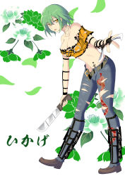 1girl absurdres bare_shoulders breasts brown_shoes character_name cleavage collarbone crop_top denim floral_background full_body green_hair highres hikage_(senran_kagura) holding holding_weapon jeans large_breasts leaning_forward looking_at_viewer machete midriff murasaki_tachi navel off-shoulder_shirt orange_shirt pants senran_kagura senran_kagura_(series) shirt shoes short_hair short_sleeves slit_pupils solo tattoo tongue tongue_out torn_clothes torn_jeans torn_shirt unbuckled_belt weapon yellow_eyes