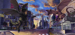 city cityscape crystal dragon higashiyama_hayato highres kaijuu mutant original real_world_location roaring sky sunset