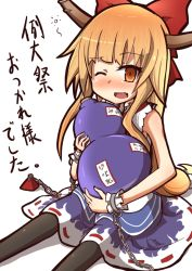 1girl black_legwear blonde_hair blush bow chains drunk fang gourd hair_bow ibuki_suika kumo_(atm) long_hair low-tied_long_hair one_eye_closed oni_horns open_mouth shirt sitting skirt sleeveless sleeveless_shirt solo touhou translation_request very_long_hair weights wrist_cuffs yellow_eyes