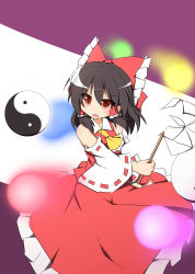 1girl ascot black_hair bow detached_sleeves gohei hair_bow hair_tubes hakurei_reimu long_hair orb red_eyes ribbon senba_chidori solo touhou yin_yang