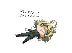 1girl ahoge belt black_boots blonde_hair blue_eyes boots chibi genya_(genya67) lying medal military military_uniform no_nose on_back shaded_face simple_background solo tanya_degurechaff translated uniform white_background youjo_senki