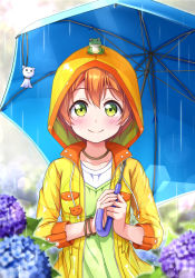 1girl animal animal_on_head blush bracelet flower frog green_eyes harunabe_(refresh_star) holding holding_umbrella hood hoshizora_rin hydrangea jewelry looking_at_viewer love_live! love_live!_school_idol_project necklace orange_hair rain raincoat short_hair smile solo teruterubouzu umbrella
