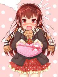 @_@ battle_girl_high_school blush gift highres himukai_yuri looking_at_viewer miiiiiiimu open_mouth ponytail red_eyes scarf steam valentine