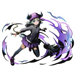 1girl aqua_hair black_jacket black_legwear black_shirt bracelet divine_gate full_body hat horns jacket jewelry kami_juusha kikyou_(kami_juusha) official_art open_clothes open_jacket outstretched_arms pleated_skirt purple_hat purple_skirt shirt shoes short_hair skirt solo tail thighhighs transparent_background ucmm zettai_ryouiki