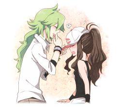! 1boy 1girl blush brown_hair commentary_request couple eyes_closed green_hair hat hetero izumi_kikaku long_hair n_(pokemon) open_mouth pokemon pokemon_(game) pokemon_bw ponytail smile touko_(pokemon)