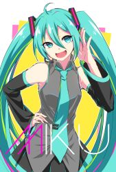 1girl ahoge aqua_eyes aqua_hair character_name detached_sleeves hand_on_hip hatsune_miku headset long_hair necktie nizuka open_mouth skirt solo twintails very_long_hair vocaloid