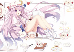 1girl book bow coffee crescent_hair_ornament deformed hair_bow hair_ornament hat long_hair open_mouth patchouli_knowledge purple_eyes purple_hair sheep thighs touhou very_long_hair white_crow