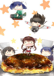 5girls :d aircraft airplane akagi_(kantai_collection) asymmetrical_legwear black_hair blue_hair blush brown_hair cherry_blossoms chibi commentary_request detached_sleeves dress eyes_closed food furisode fusou_(kantai_collection) hair_ornament hakama headgear hinata_yuu japanese_clothes kantai_collection kimono long_gloves long_hair long_sleeves miniskirt multiple_girls nagato_(kantai_collection) nontraditional_miko okonomiyaki open_mouth ponytail revision rigging skirt smile souryuu_(kantai_collection) star star-shaped_pupils starry_background strapless strapless_dress symbol-shaped_pupils thighhighs twintails very_long_hair yamato_(kantai_collection) z_flag