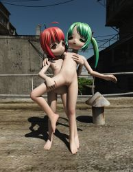 2girls 3d 3d_custom_girl loli multiple_girls nipples nude open_mouth outdoors pussy shiny_hair sky small_breasts toufu_(tofusan) uncensored yuri
