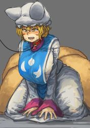 1girl bangs blonde_hair blush breasts chanta_(ayatakaoisii) collar commentary_request dress extra_ears eyebrows_visible_through_hair fang fox_tail grey_background hair_between_eyes hat highres huge_breasts kneeling leash long_sleeves multiple_tails open_mouth pillow_hat short_hair simple_background solo sweatdrop tabard tail teeth thick_thighs thighs tongue touhou white_dress white_hat wide_hips wide_sleeves yakumo_ran
