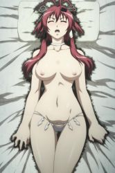 1girl aura bare_shoulders bed black_panties blush breasts breasts_apart choker collarbone eyes_closed female hair_between_eyes hands highres hips hyakka_ryouran_samurai_girls large_breasts long_hair long_image lying mound_of_venus navel nipples on_back open_mouth pain panties red_hair screencap skindentation solo tall_image thigh_gap thighs topless underwear wide_hips wince yagyuu_juubei_(hyakka_ryouran)
