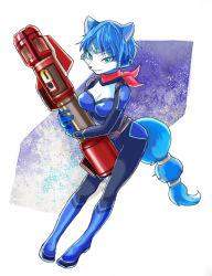 1girl blue_hair bodysuit boots furry green_eyes krystal nintendo scarf star_fox weapon