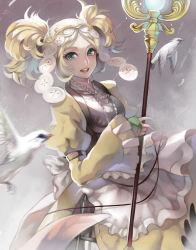 1girl bird blonde_hair dress fire_emblem fire_emblem:_kakusei headpiece liz_(fire_emblem) looking_at_viewer solo staff synpai twintails