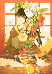 1girl ame_(conronca) black_hair comb flower fox_mask fox_tail hair_ornament japanese_clothes kimono long_hair looking_at_viewer mask obi original sash short_kimono short_yukata sitting smile solo tail yellow_eyes yukata