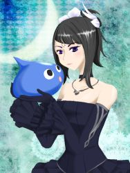 1girl aq_interactive bare_shoulders black_hair blue_eyes breasts choker detached_sleeves dress gloves hair_ornament jewelry manamia mistwalker monster necklace nintendo short_hair the_last_story