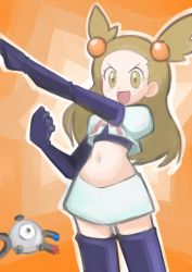 brown_eyes brown_hair cosplay hainchu magnemite mikan_(pokemon) navel pokemon team_rocket team_rocket_(cosplay)