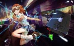 1girl action aiming_at_viewer bag blurry briefcase brown_eyes brown_hair building closed_mouth coin depth_of_field electricity frog hair_ornament jumping keychain kneehighs liangxing loafers looking_at_viewer misaka_mikoto motion_blur outdoors pleated_skirt reflection school_bag school_uniform shirt shoes short_hair short_sleeves shorts_under_skirt skirt smile solo sweater_vest to_aru_kagaku_no_railgun to_aru_majutsu_no_index upskirt white_legwear white_shirt