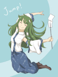 1girl blue_background chi-kun_(seedyoulater) detached_sleeves eyes_closed frog frog_hair_ornament gohei green_hair hair_ornament kochiya_sanae long_hair sketch smile snake snake_hair_ornament solo touhou