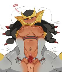 1girl anus areolae black_sclera blush breasts breasts_apart clitoris dark_nipples dark_skin embarrassed giratina highres lamia large_areolae large_breasts lightsource looking_away monster_girl navel nipples personification pokemon pussy red_eyes solo spread_pussy tears uncensored urethra