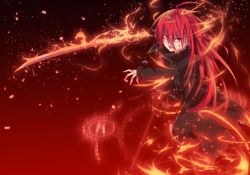 1girl ahoge blood female fire flame holding_sword holding_weapon jewelry long_hair long_sleeves magic nakadadaichi necklace open_mouth red_eyes red_hair shakugan_no_shana shana solo straight_hair sword weapon