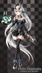 1girl artist_request belt breasts cleavage corset creature cross-laced_footwear crystal demon_girl detached_collar detached_sleeves familiar fingerless_gloves fire gloves green_eyes high_heels highres horns large_breasts long_hair long_legs mage miniskirt necktie pixiv_fantasia pixiv_fantasia_wizard_and_knight plaid pointy_ears silver_hair skirt staff tail thighhighs very_long_hair
