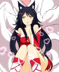 1girl ahri animal_ears bare_legs black_hair braid breasts cleavage desubunny detached_sleeves female flower fox_tail kitsunemimi league_of_legends long_hair long_sleeves looking_at_viewer multiple_tails single_braid sitting skirt smile solo tail white_skirt yellow_eyes