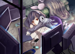 1girl animal_ears bed bed_sheet bedroom black_hair bunny_ears computer computer_keyboard contemporary earphones ging1993 houraisan_kaguya long_hair monitor monitor_light pillow playstation_portable pocky red_eyes touhou