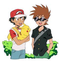 2boys backpack bag baseball_cap bbu_upman black_hair black_shirt brown_eyes brown_hair denim green_pants hands_in_pockets hat jeans looking_at_another multiple_boys ookido_green ookido_green_(cosplay) ookido_green_(sm) ookido_shigeru open_collar pants pikachu pokemon pokemon_(anime) pokemon_(creature) pokemon_(game) pokemon_sm red_(pokemon) red_(pokemon)_(cosplay) red_(pokemon)_(sm) satoshi_(pokemon) shirt simple_background smile spiked_hair sunglasses t-shirt white_background