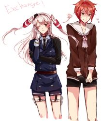 1boy 1girl ;< amatsukaze_(kantai_collection) brown_eyes cosplay costume_switch cropped_legs crossover dress flora_blossom gloves green_eyes hair_tubes hand_on_own_cheek highres holster kantai_collection military military_uniform necktie one_eye_closed red_hair sailor_dress shaded_face shinano_toushirou shorts single_glove smile thigh_holster touken_ranbu two_side_up uniform white_hair