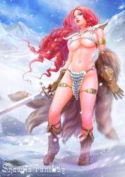 absurdres armlet armor bikini_armor blue_eyes boots curly_hair gloves highres long_hair marvel outdoors red_hair red_sonja red_sonja_(comics) shawli snow sword warrior weapon winter