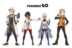 2boys 2girls androgynous backpack bag black_gloves black_jacket blanche_(pokemon) blonde_hair blue_eyes blue_jacket bodysuit brown_eyes brown_hair candela_(pokemon) clenched_hand coat copyright_name dark_skin expressionless fingerless_gloves full_body glasses_on_head gloves grey_eyes grey_hair grin hand_on_hip height_difference high_heels highres holding holding_poke_ball hood hoodie jacket jewelry labcoat leggings lineup lipstick long_hair long_sleeves looking_at_viewer makeup multicolored_hair multiple_boys multiple_girls official_style open_clothes open_jacket orange_gloves outstretched_arm pantyhose parody pendant poke_ball pokemon pokemon_go ponytail pose red_gloves redlhzz shoes short_hair sidelocks silver_hair simple_background smile sneakers spark_(pokemon) style_parody two-tone_hair watch white_background wide_stance willow_(pokemon) wristband yellow_eyes yellow_gloves
