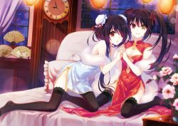 2girls bare_shoulders bed bed_sheet black_hair breasts china_dress chinese_clothes clock clock_eyes date_a_live dual_persona feet flower hair_over_one_eye hairband hand_holding lantern legs long_hair looking_at_viewer miniskirt multiple_girls no_shoes on_bed open_mouth paper_fan pillow red_eyes ribbon sitting skirt small_breasts smile thighhighs thighs tokisaki_kurumi twintails very_long_hair wariza