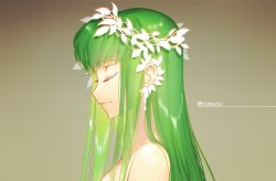 1girl bangs brown_background c.c. closed_mouth code_geass creayus eyelashes from_side green_hair head_wreath light_smile long_hair profile shiny shiny_hair solo twitter_username