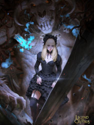 1girl black_legwear blonde_hair blood breasts choker cleavage corset cuts demon frilled_skirt frills gothic_lolita green_eyes hairband highres hitodama injury jewelry kilart lantern legend_of_the_cryptids lips lipstick lolita_fashion lolita_hairband long_hair makeup medium_breasts over-kneehighs planted_sword planted_weapon ring skirt skull solo_focus sword thighhighs weapon