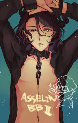 1boy asselin_bb_ii black_hair blue_background chains character_name chibi cuffs heterochromia idolmaster idolmaster_side-m jacket looking_at_viewer makino_bunny male_focus navel open_clothes open_jacket red_eyes shackles shirtless solo upper_body wavy_hair yellow_eyes