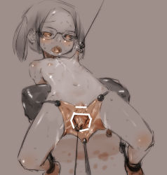 ahashi bar_censor censored cervix clitoris dilation_belt flat_chest glasses leaning_back loli monochrome navel nude open_mouth piercing restrained shiny shiny_skin spread_legs spread_pussy