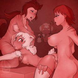 3girls anal_fingering anal_insertion animated animated_gif breasts cum cum_in_mouth cum_in_pussy double_penetration fellatio futa_with_female futanari large_breasts monster_girl multiple_girls ninja_kitty ninjakitty nipples penis spitroast thumb_in_ass vaginal watermark