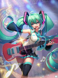 1girl ahoge detached_sleeves electric_guitar green_eyes green_hair guitar hatsune_miku headset highres instrument loewy long_hair musical_note necktie open_mouth skirt solo thighhighs twintails very_long_hair vocaloid