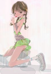 1girl amiami candy female lollipop looking_at_viewer original panties see-through side_glance skirt sneakers solo twin_braids twintails untied_shoes