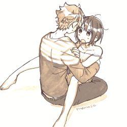 1boy 1girl alternate_hair_length alternate_hairstyle barefoot couple eye_contact hug kitashirakawa_tamako looking_at_another momose_(oqo) monochrome ooji_mochizou short_hair tamako_market