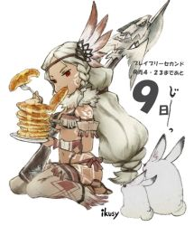1girl aimee_matchlock bodypaint braid bravely_default:_flying_fairy bravely_default_(series) bravely_second bravely_second:_end_layer dark_skin eating fork fringe gun headdress holding holding_plate ikusy long_hair mouth_hold native_american native_american_headdress navel number official_art pancake plate red_eyes rifle sandals simple_background sitting solo wariza weapon white_background white_hair