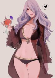 artist_request bikini black_bikini breasts camilla_(fire_emblem_if) cleavage doodle fire_emblem fire_emblem_if glass heart large_breasts long_hair navel purple_eyes purple_hair swimsuit