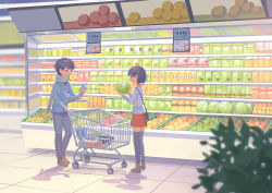 1boy 1girl black_hair black_legwear blurry box cabbage commentary denim eyes_closed food groceries holding holding_food indoors jeans kitsu+3 lon_(niconico) long_sleeves matching_hairstyle niconico original pants price_tag profile red_skirt scarf shadow shirt shop shopping shopping_cart short_hair skirt smile soraru standing thighhighs tile_floor tiles white_shirt zettai_ryouiki