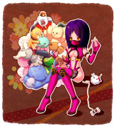 artist_request black_hair character_doll gloves half_mask mileena mortal_kombat needle sewing teddy_bear thighhighs thread yellow_eyes