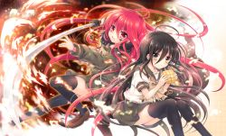 2girls ahoge bangs black_hair black_legwear blush bow bread brown_eyes brown_shoes closed_mouth dual_persona fire floating_hair food hair_between_eyes holding holding_food holding_sword holding_weapon invisible_chair jewelry loafers long_hair long_sleeves looking_at_viewer melon_bread multiple_girls outstretched_arm pendant pleated_skirt red_eyes red_hair school_uniform serafuku shakugan_no_shana shana shoes short_sleeves sitting skirt smile sword tachitsu_teto thighhighs very_long_hair weapon