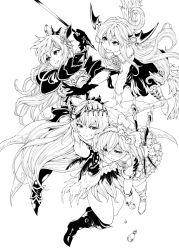 4girls armlet armor bangs bare_shoulders bikini_armor boots bottle bow bracelet breasts carrying cleavage closed_mouth collared_shirt dark_jeanne dark_persona djeeta_(granblue_fantasy) drooling elixir empty_eyes fangs feathers female flower frilled_shirt_collar frilled_skirt frills gloves granblue_fantasy greyscale hair_between_eyes hair_bow hair_feathers hair_ornament hairband head_wings highres holding holding_sword holding_weapon jeanne_d'arc_(granblue_fantasy) jewelry katana long_hair long_sleeves looking_at_another midriff miniskirt monochrome multiple_girls open_mouth plant raid_slash rapier rose shaded_face sheath shingeki_no_bahamut shirt short_hair simple_background skirt smile superstar_(granblue_fantasy) sweat sword tales_of_(series) tales_of_vesperia vampire vampy vira weapon white_background